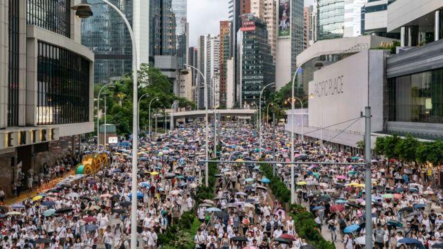 Protesta en Hong Kong en junio 9 de 2019