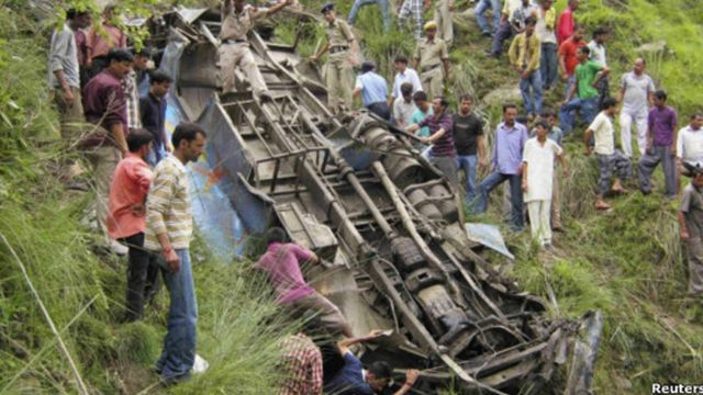 A bus accident in India