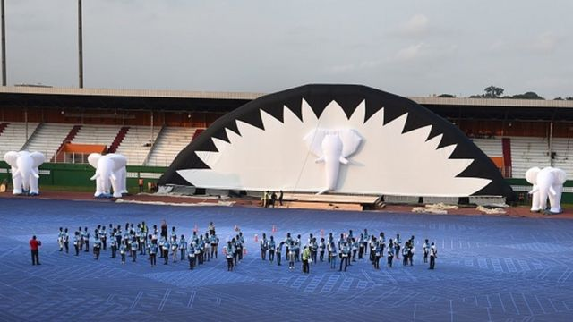 Répétitions pour la cérémonie d'ouverture au stade Félix Houphouet-Boigny