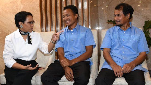 Menteri Luar Negeri Retno Marsudi, Abu Sayyaf, Samiun Maneu, Maharudin Lunani.
