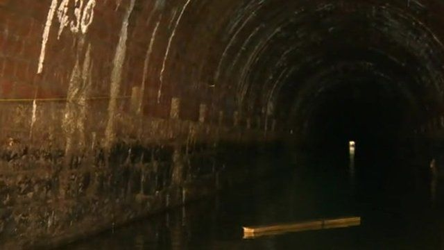 Inside the canal tunnel