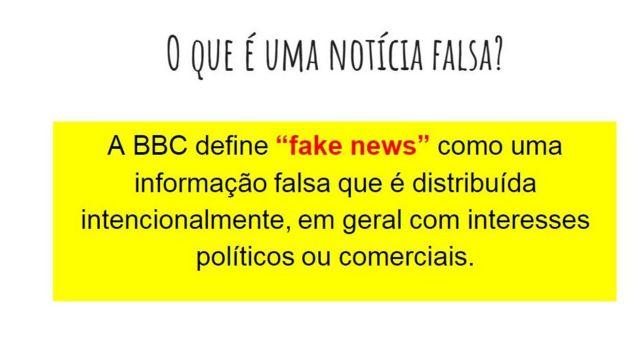 Definição de fake news da BBC