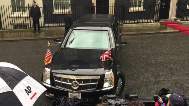 President Obama's car in front of Downing Street