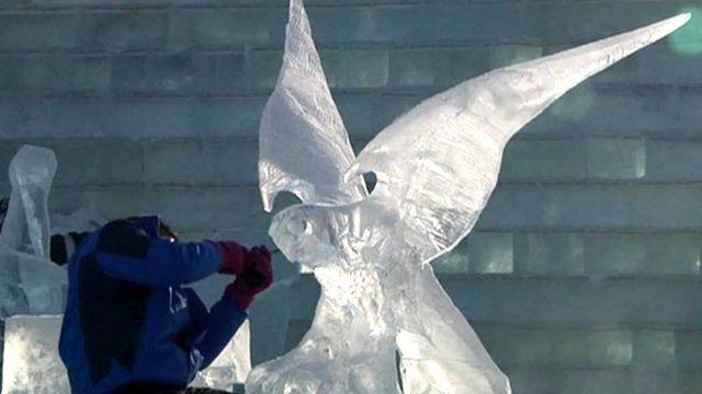 An ice sculptor at work
