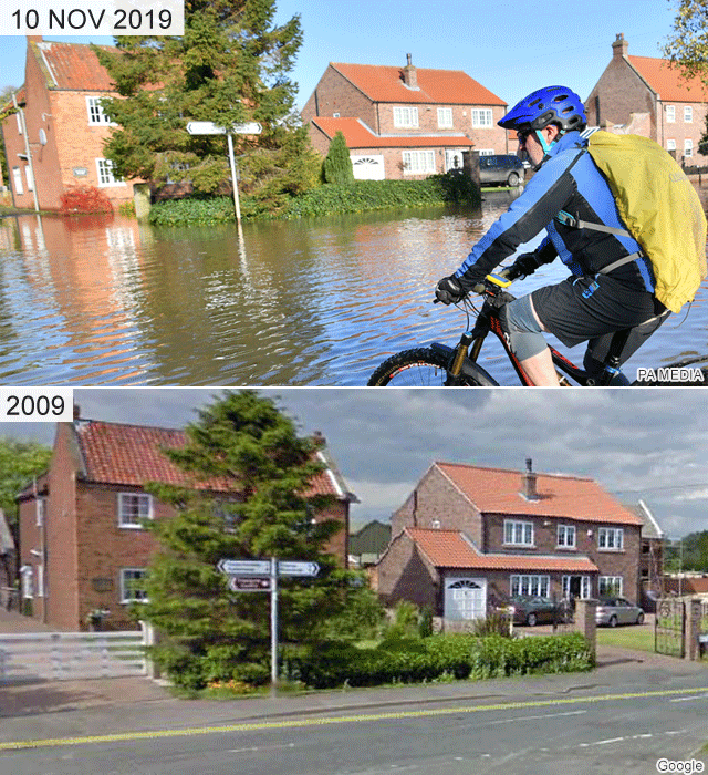 Fishlake before and after the flooding