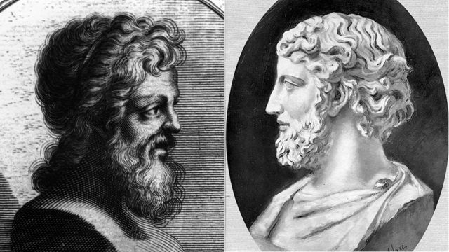 Praxíteles (izq.) y Fidias