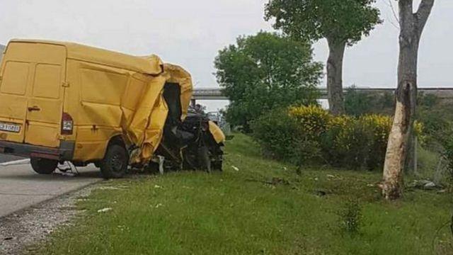 خودروی که تصادف آن در بلغارستان جان چند تبعه افغان را گرفت