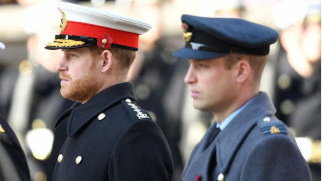 Prince Harry, Duke of Sussex and Prince William, Duke of Cambridge attend the annual Remembrance Sunday memorial at The Cenotaph on November 10, 2019 in London, England