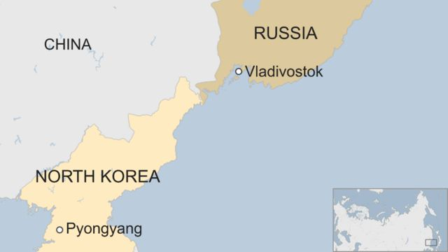 Map showing border between North Korea and Russia