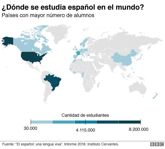 Mapa con datos sobre alumnos de español en el mundo.