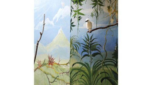 Estornino de Bali y Montaña, Bali Starling and Mountain, 2012, cortesía de Galerie Dumonteil, Shanghái, París, Nueva York