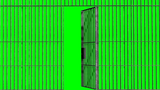 Grades com porta, com tela verde ao fundo