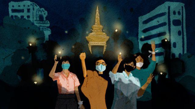 태국의 젊은 세대는 징역혁을 감수하면서 군주제에 맞서 시위를 열었다