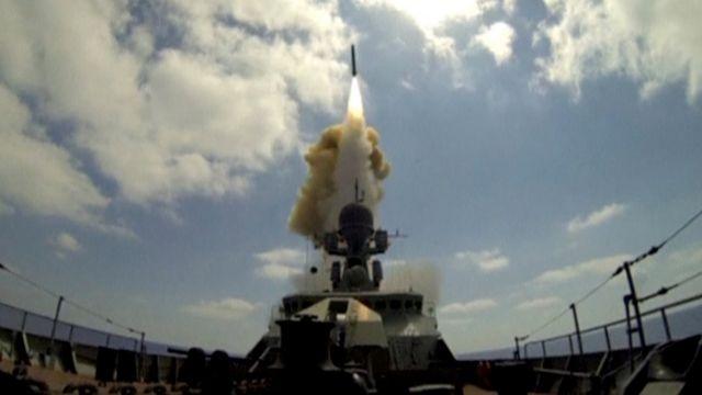 Lanzamiento de misiles rusos contra los rebeldes sirios.