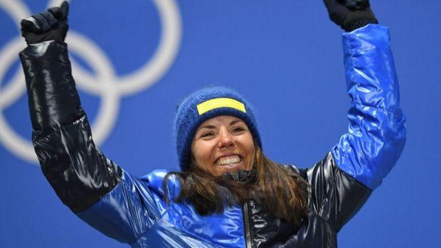 Charlotte Kalla, la première médaillée d'or des Jeux Olympiques d'hiver de Pyeongchang.