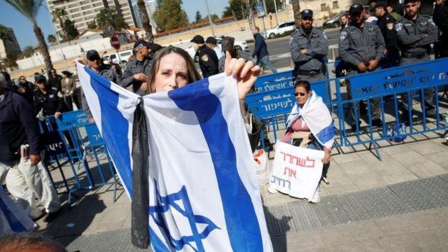 معترضان مقابل وزارت دفاع اسرائیل