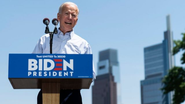 Former US Vice-President and Democratic presidential candidate Joe Biden speaks during a campaign kickoff rally, May 18, 2019 in Philadelphia
