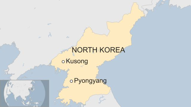 Map of Kusong in North Korea