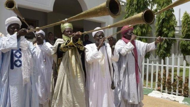Masu algaita a fadar Sarkin Musulmi da ke Sokoto