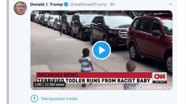 """A tweet from president Trump shows a black child running away from a white child on a city street, with the news caption """"Terrified todler [sic] runs from racist baby'"""