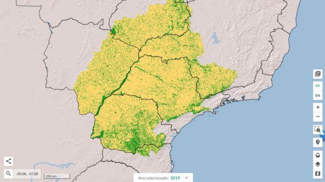 Mapa mostra ocupação do solo na bacia do Paraná