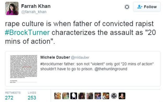 """Uma usuária do Twitter criticou a declaração de Dan Turner ao dizer que """"cultura do estupro é quando um pai de um estuprador diz que o crime foi um 'ato de 20 minutos''"""""""
