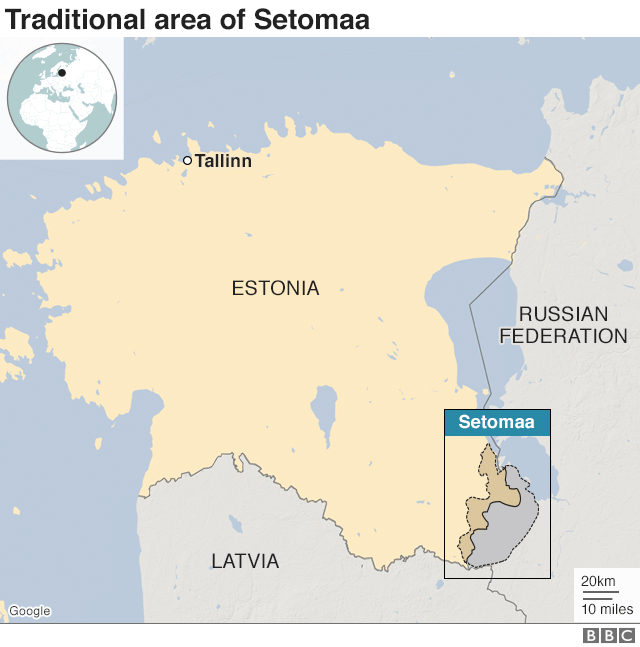 Map showing Estonia-Russia border