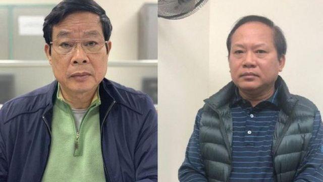 Hai cựu bộ trưởng Bộ Thông tin Truyền thông Nguyễn Bắc Son (trái) và Trương Minh Tuấn khai nhận tổng cộng là 3,2 triệu đôla hối lộ từ ông Phạm Nhật Vũ
