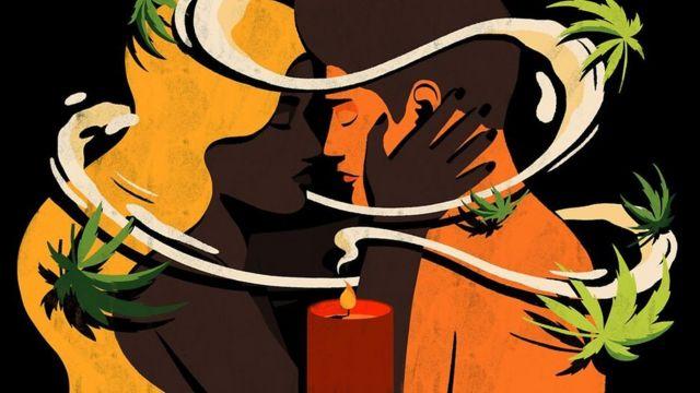 Ilustración de una pareja besándose