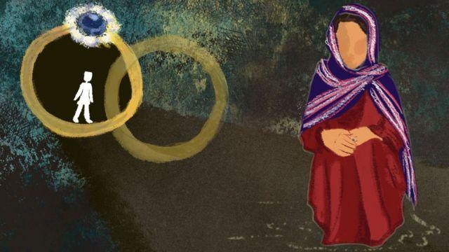 Ilustración que muestra a Nazanin y dos anillos de boda