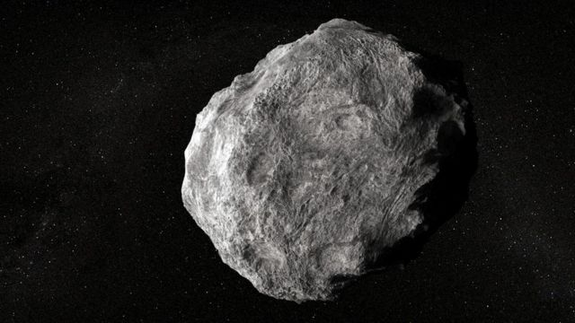 Ilustración del asteroide en blanco y gris.