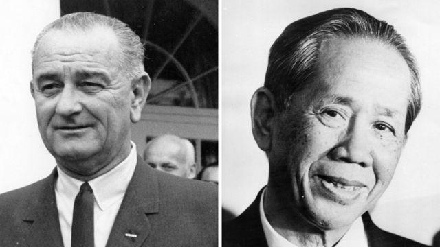 Tổng thống Mỹ Lyndon Johnson và ông Lê Duẩn (hình minh họa)