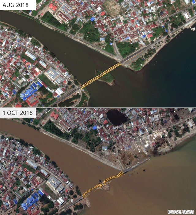 Palu bridge before and after