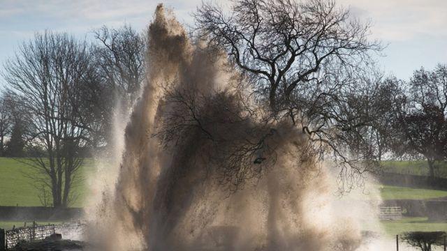 Burst water main floods Derbyshire village