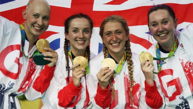Gold medallists from Team GB's Women's Team Pursuit