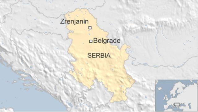 Map showing Zrenjanin in Serbia