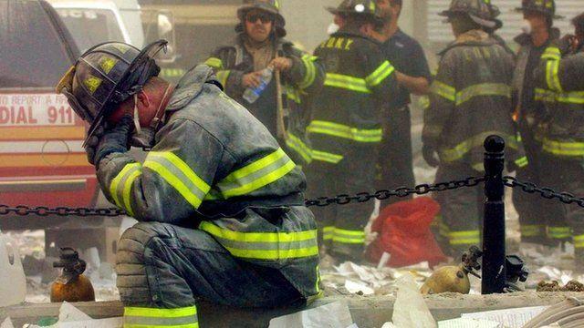 Bombeiros no dia 11 de setembro