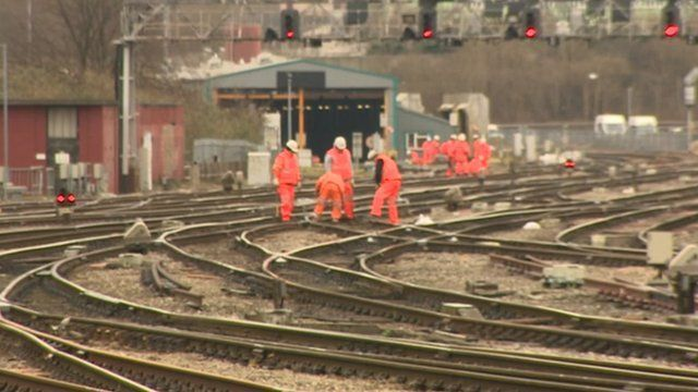 Workers on rail lines