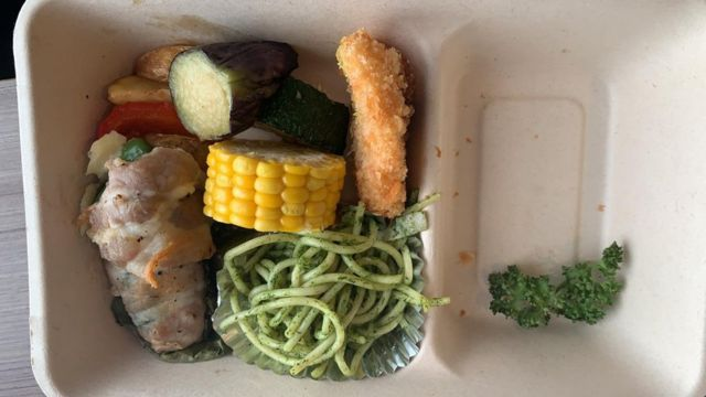 Takeaway food in a container