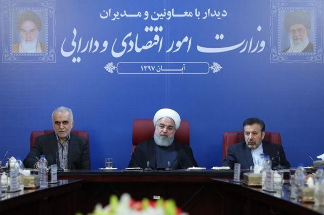 Rouhani en una rueda de prensa