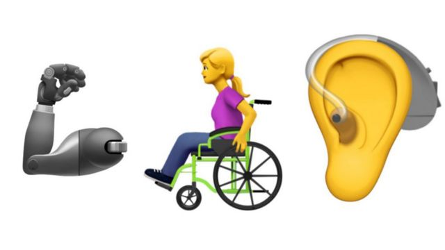 A prosthetic arm, a wheelchair user, a ear with a hearing aid emojis