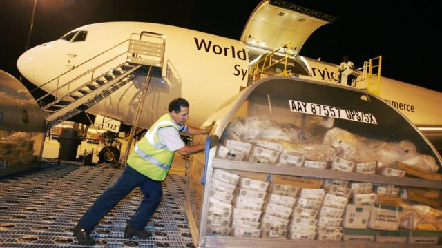 Un empleado cargo un avión de transporte de mercancías.