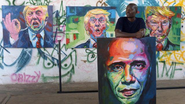 فنان كيني يرسم لوحات تعبيرية عن رحيل اوباما وتولي ترامب