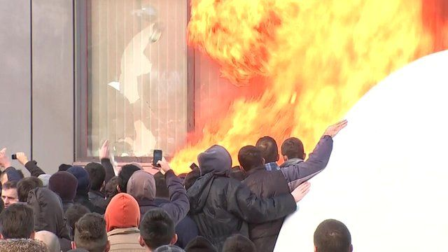 Protesters set Kosovo government building on fire
