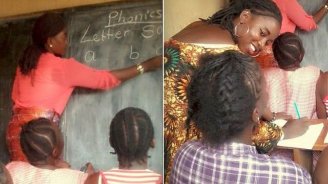 Female prisoner wey dey for classroom dey learn book as teacher dey teach dem