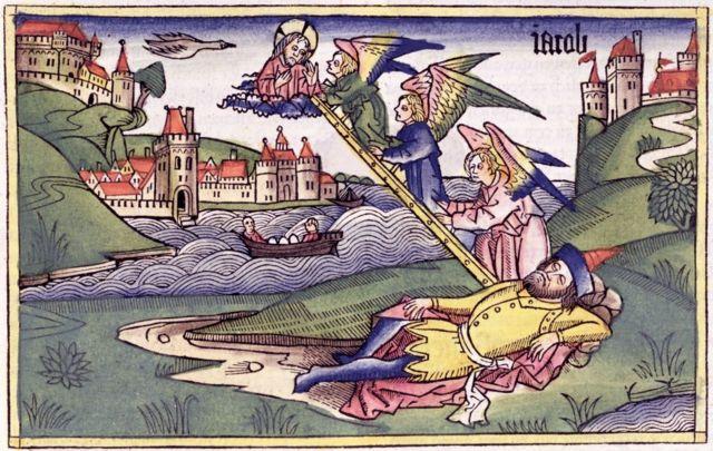 Библейская лестница Якова. Иллюстрация неизвестного художника из рукописной Библии XV века.