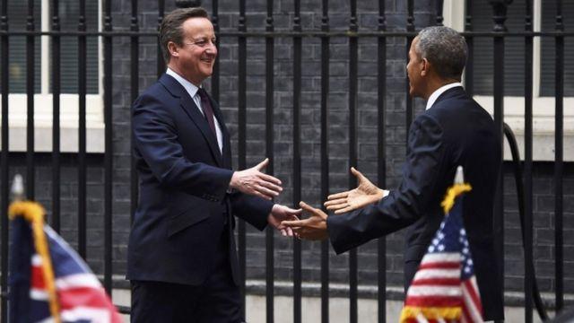 David Cameron nat Barack Obama imbere ya 10 Downing Street