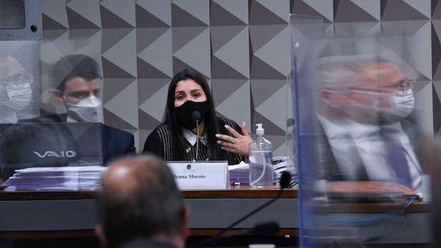 Lawyer Bruna Morato speaks at the Parliamentary Inquiry Committee to investigate government management during the COVID-19 pandemic, in Brasilia on 28 September