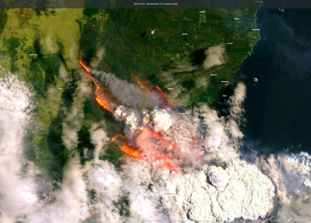 Супутникове зображення затоки Бейтманс в новорічну ніч