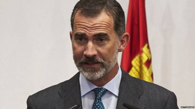 King Felipe VI of Spain attends the opening of the Scholar University College year at the Salamanca University